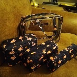 Vera Bradley Flamingo 4pc Cosmetic Bag Set